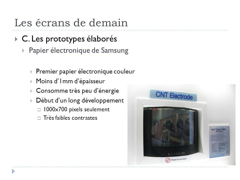 Les écrans de demain C. Les prototypes élaborés Papier électronique de Samsung Premier papier électronique couleur Moins d1mm dépaisseur Consomme très