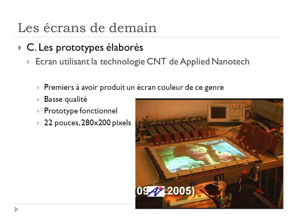Les écrans de demain C. Les prototypes élaborés Ecran utilisant la technologie CNT de Applied Nanotech Premiers à avoir produit un écran couleur de ce