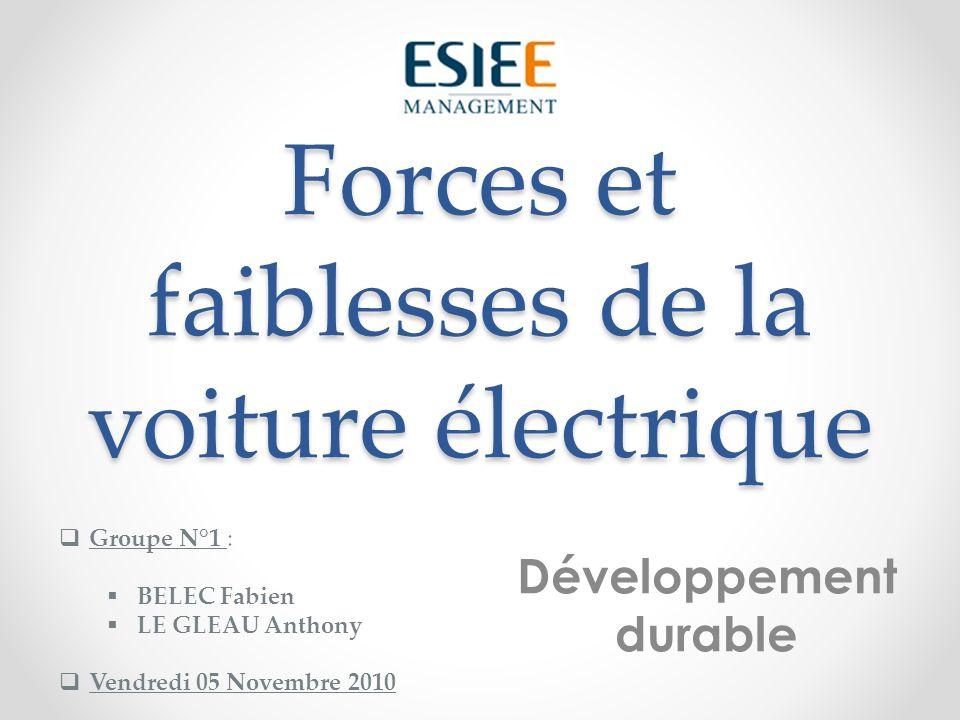 Forces et faiblesses de la voiture électrique Développement durable Groupe N°1 : BELEC Fabien LE GLEAU Anthony Vendredi 05 Novembre 2010