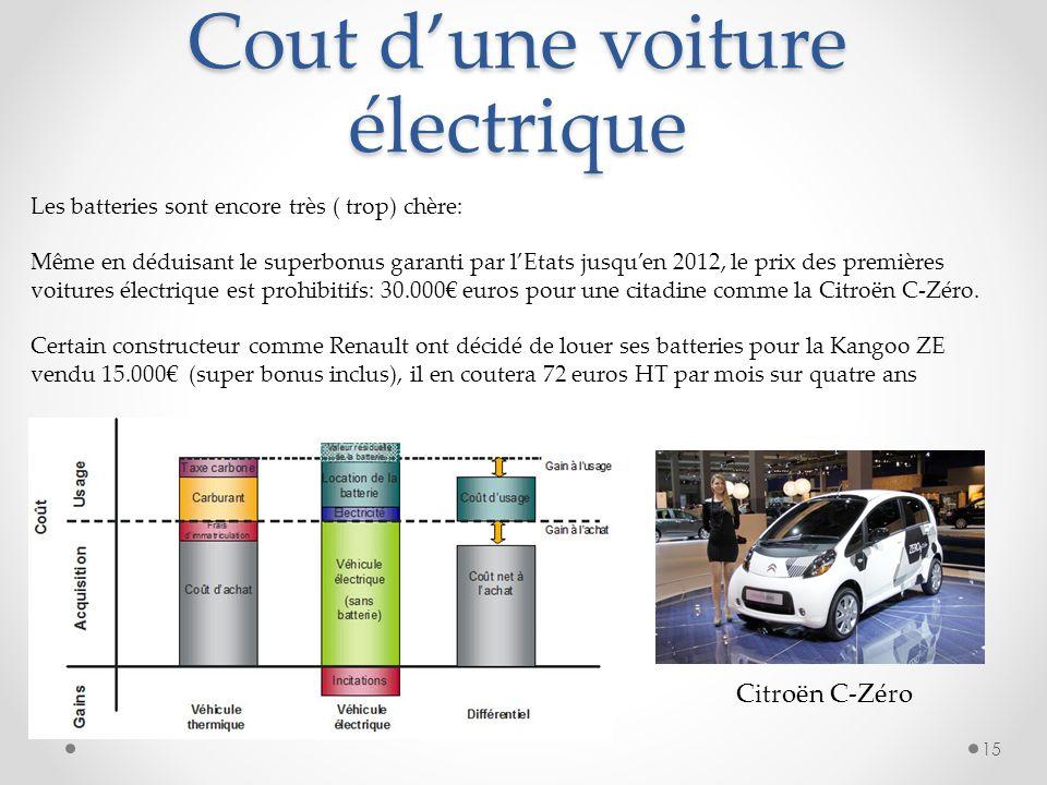 15 Les batteries sont encore très ( trop) chère: Même en déduisant le superbonus garanti par lEtats jusquen 2012, le prix des premières voitures élect