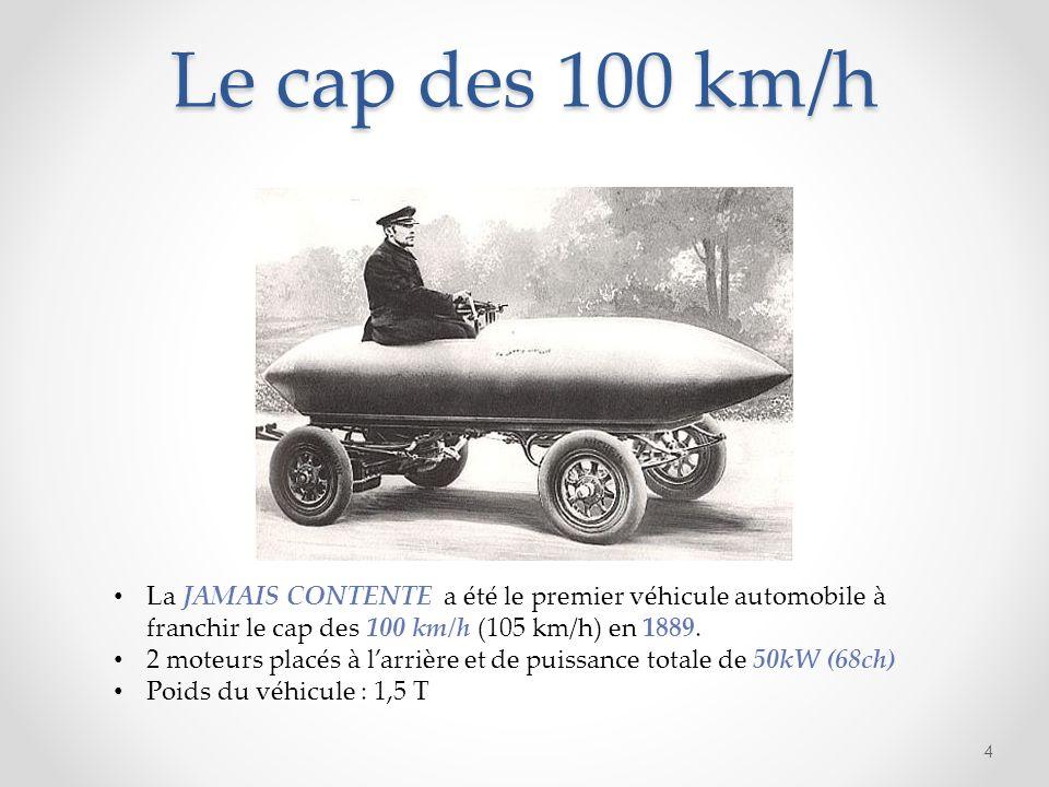Le cap des 100 km/h 4 La JAMAIS CONTENTE a été le premier véhicule automobile à franchir le cap des 100 km/h (105 km/h) en 1889. 2 moteurs placés à la
