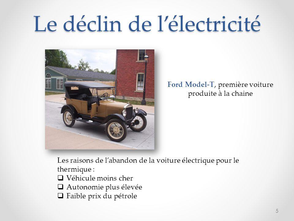 Le déclin de lélectricité 5 Ford Model-T, première voiture produite à la chaine Les raisons de labandon de la voiture électrique pour le thermique : V