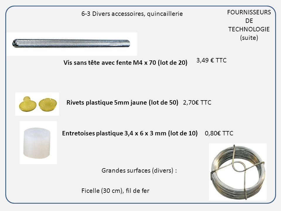 FOURNISSEURS DE TECHNOLOGIE (suite) Vis sans tête avec fente M4 x 70 (lot de 20) Rivets plastique 5mm jaune (lot de 50)2,70 TTC Entretoises plastique