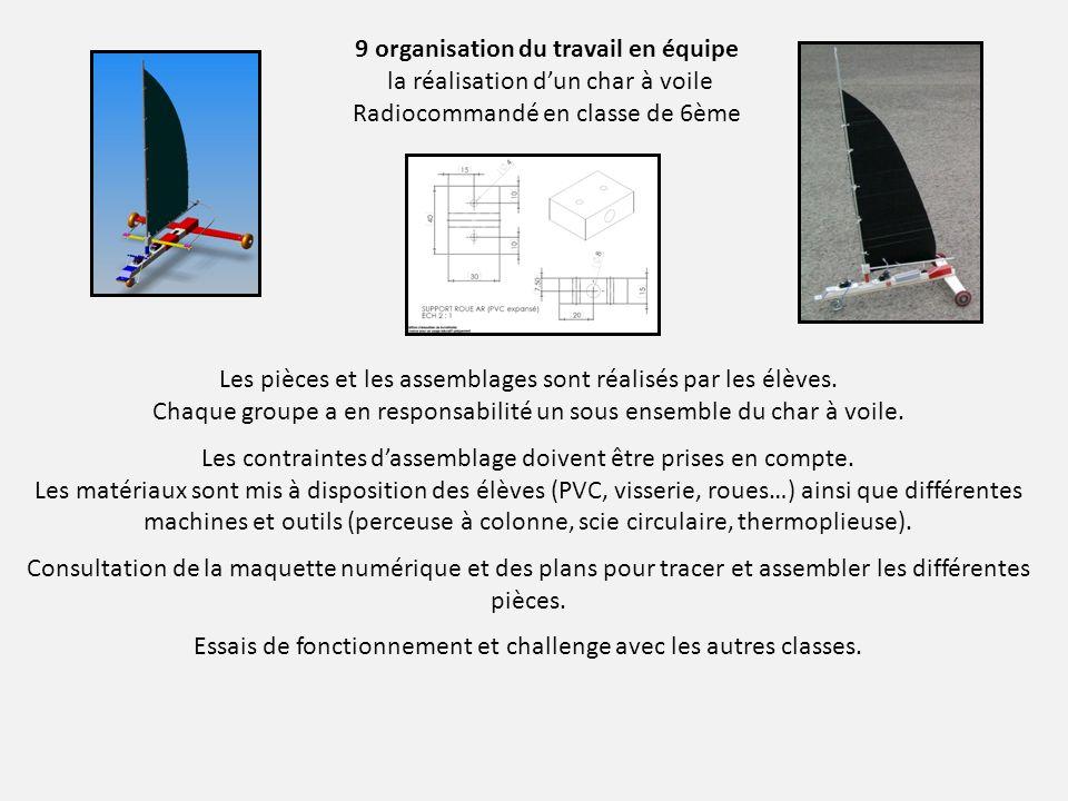 9 organisation du travail en équipe la réalisation dun char à voile Radiocommandé en classe de 6ème Les pièces et les assemblages sont réalisés par le