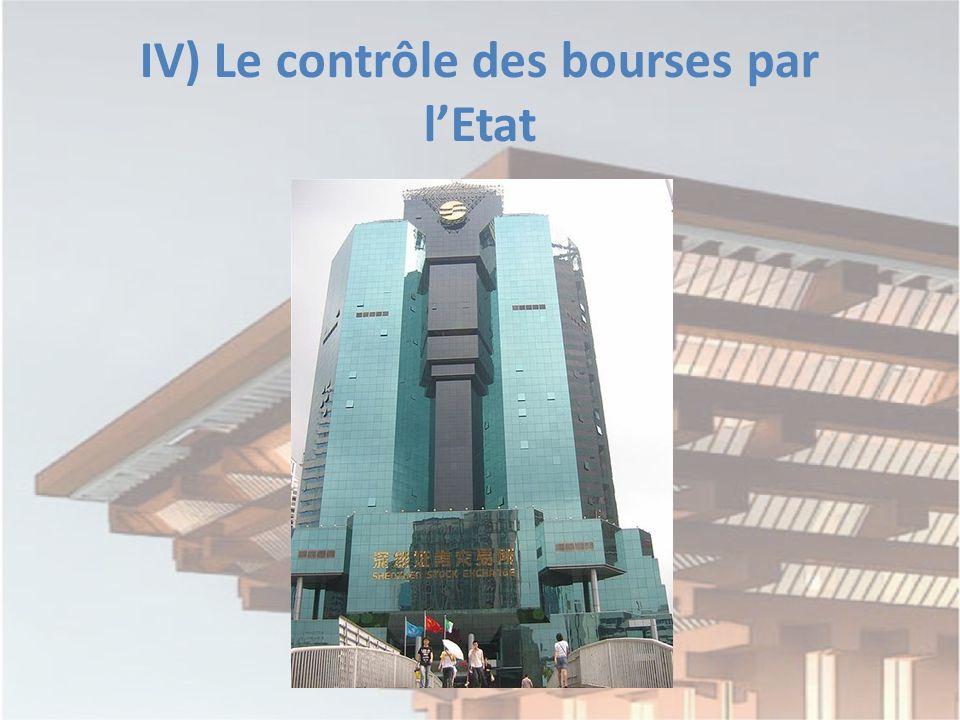 IV) Le contrôle des bourses par lEtat