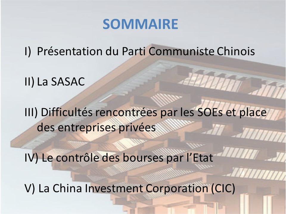 I)Présentation du Parti Communiste Chinois II)La SASAC III) Difficultés rencontrées par les SOEs et place des entreprises privées IV) Le contrôle des bourses par lEtat V) La China Investment Corporation (CIC) SOMMAIRE