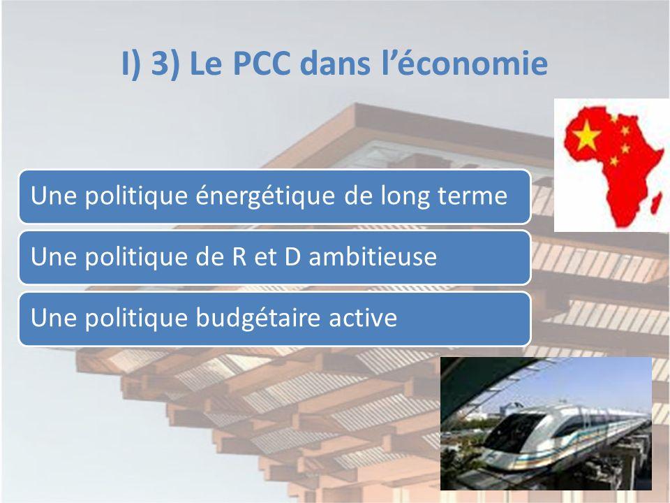 I) 3) Le PCC dans léconomie Une politique énergétique de long termeUne politique de R et D ambitieuseUne politique budgétaire active