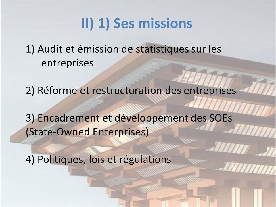 II) 1) Ses missions 1) Audit et émission de statistiques sur les entreprises 2) Réforme et restructuration des entreprises 3) Encadrement et développement des SOEs (State-Owned Enterprises) 4) Politiques, lois et régulations