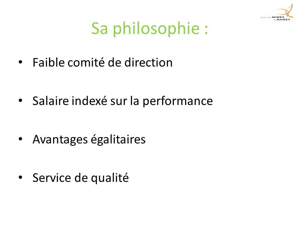 Sa philosophie : Faible comité de direction Salaire indexé sur la performance Avantages égalitaires Service de qualité