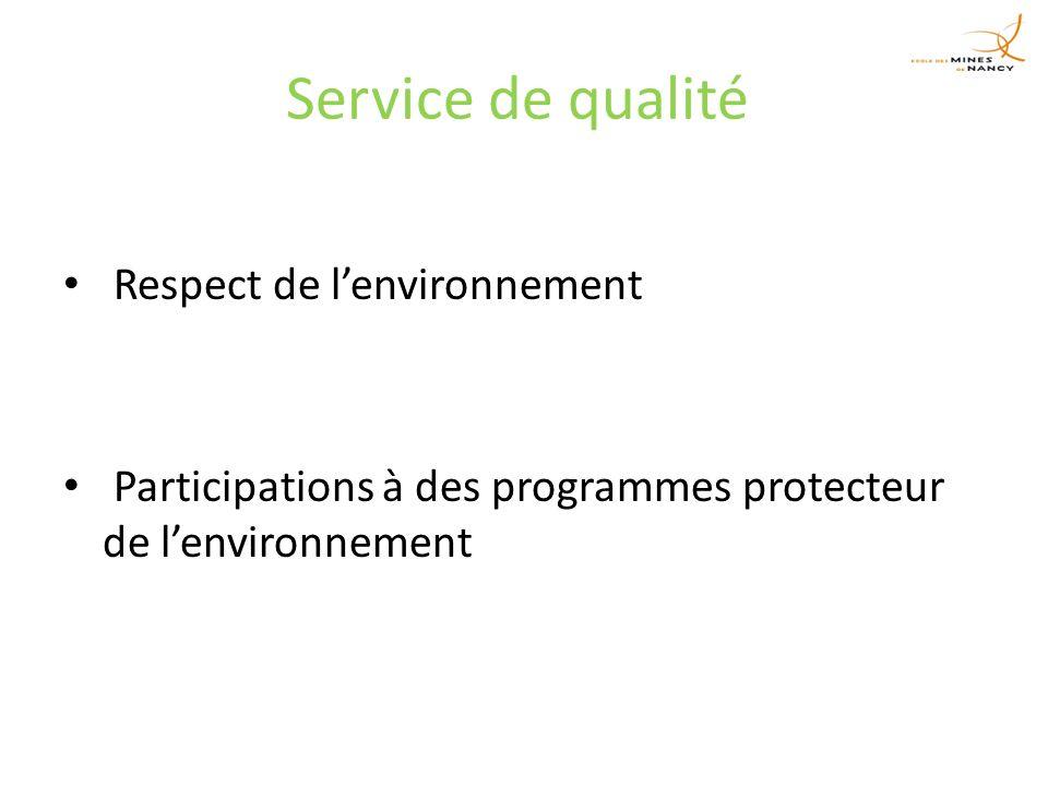 Service de qualité Respect de lenvironnement Participations à des programmes protecteur de lenvironnement