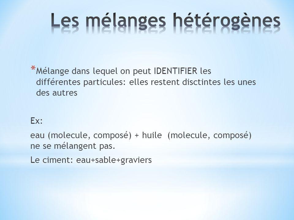 * Mélange dans lequel on peut IDENTIFIER les différentes particules: elles restent disctintes les unes des autres Ex: eau (molecule, composé) + huile