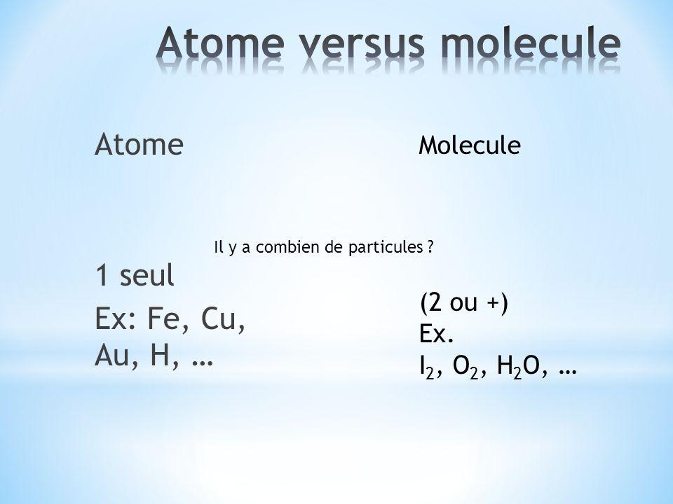 Atome 1 seul Ex: Fe, Cu, Au, H, … Molecule (2 ou +) Ex. I 2, O 2, H 2 O, … Il y a combien de particules ?