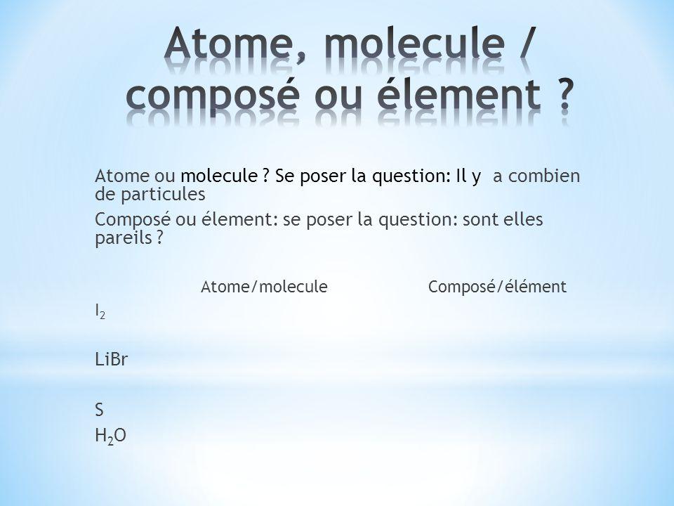 Atome ou molecule ? Se poser la question: Il y a combien de particules Composé ou élement: se poser la question: sont elles pareils ? Atome/moleculeCo