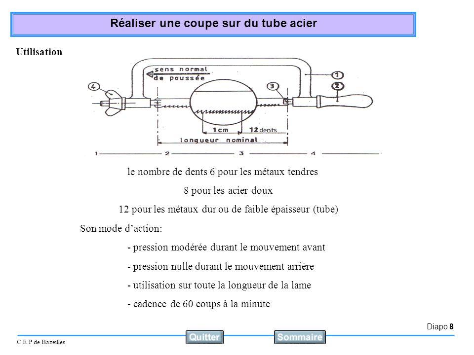 Diapo 9 C E P de Bazeilles Réaliser une coupe sur du tube acier Utilisation