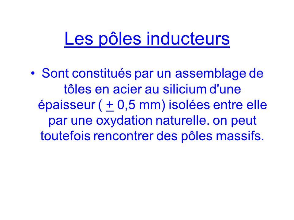 Les pôles inducteurs Sont constitués par un assemblage de tôles en acier au silicium d'une épaisseur ( + 0,5 mm) isolées entre elle par une oxydation