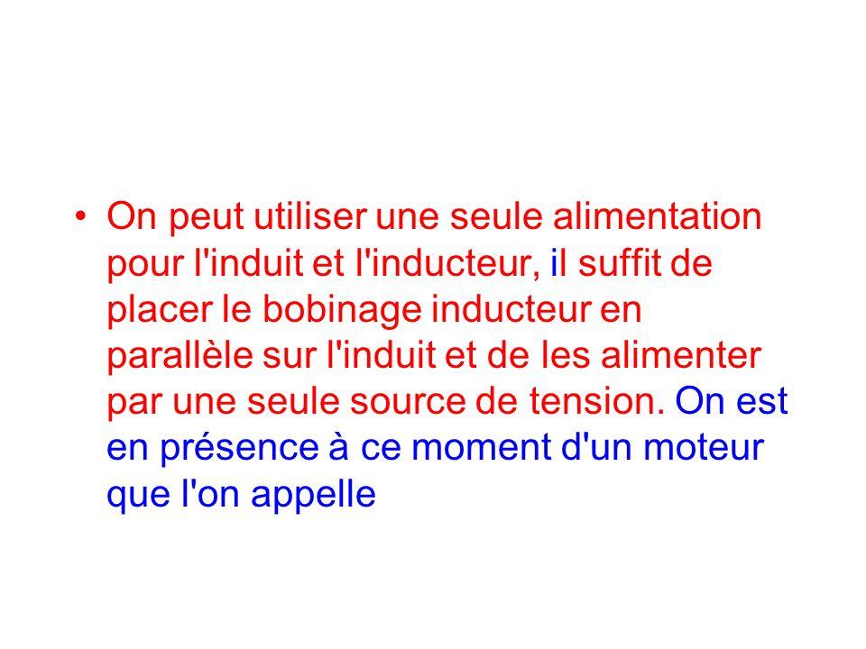 On peut utiliser une seule alimentation pour l'induit et l'inducteur, il suffit de placer le bobinage inducteur en parallèle sur l'induit et de les al