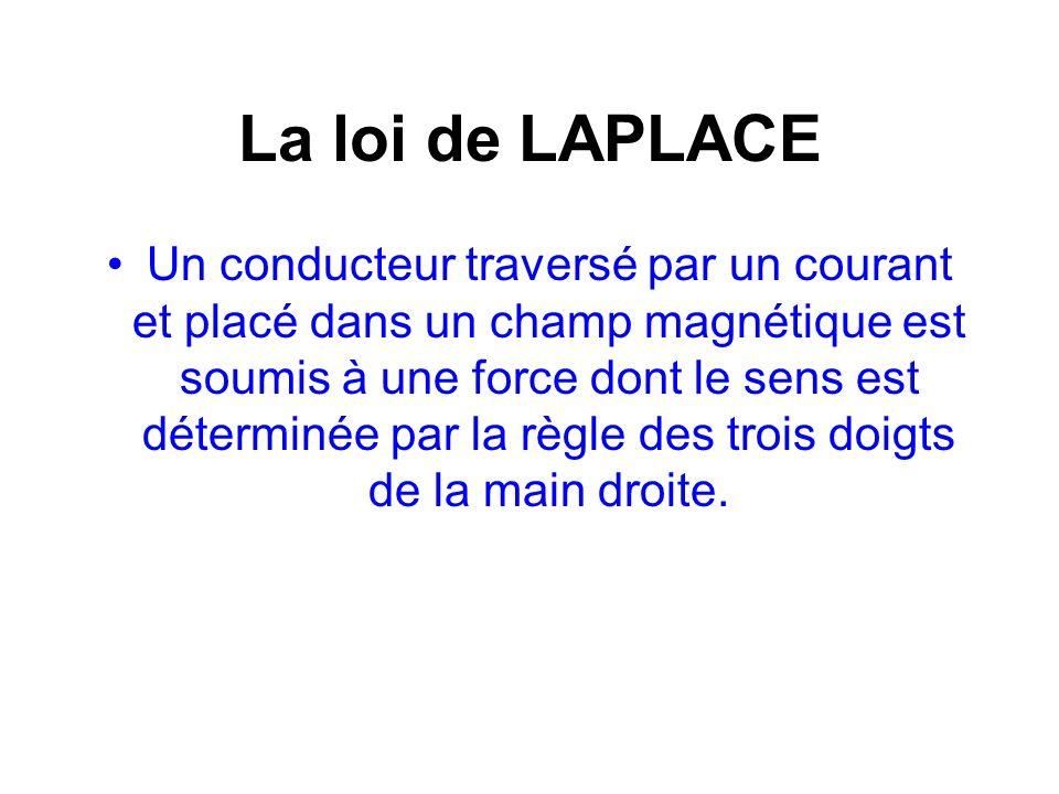 La loi de LAPLACE Un conducteur traversé par un courant et placé dans un champ magnétique est soumis à une force dont le sens est déterminée par la rè