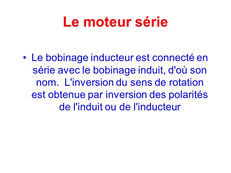Le moteur série Le bobinage inducteur est connecté en série avec le bobinage induit, d'où son nom. L'inversion du sens de rotation est obtenue par inv