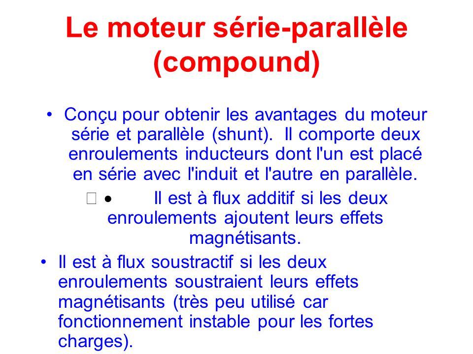 Le moteur série-parallèle (compound) Conçu pour obtenir les avantages du moteur série et parallèle (shunt). Il comporte deux enroulements inducteurs d