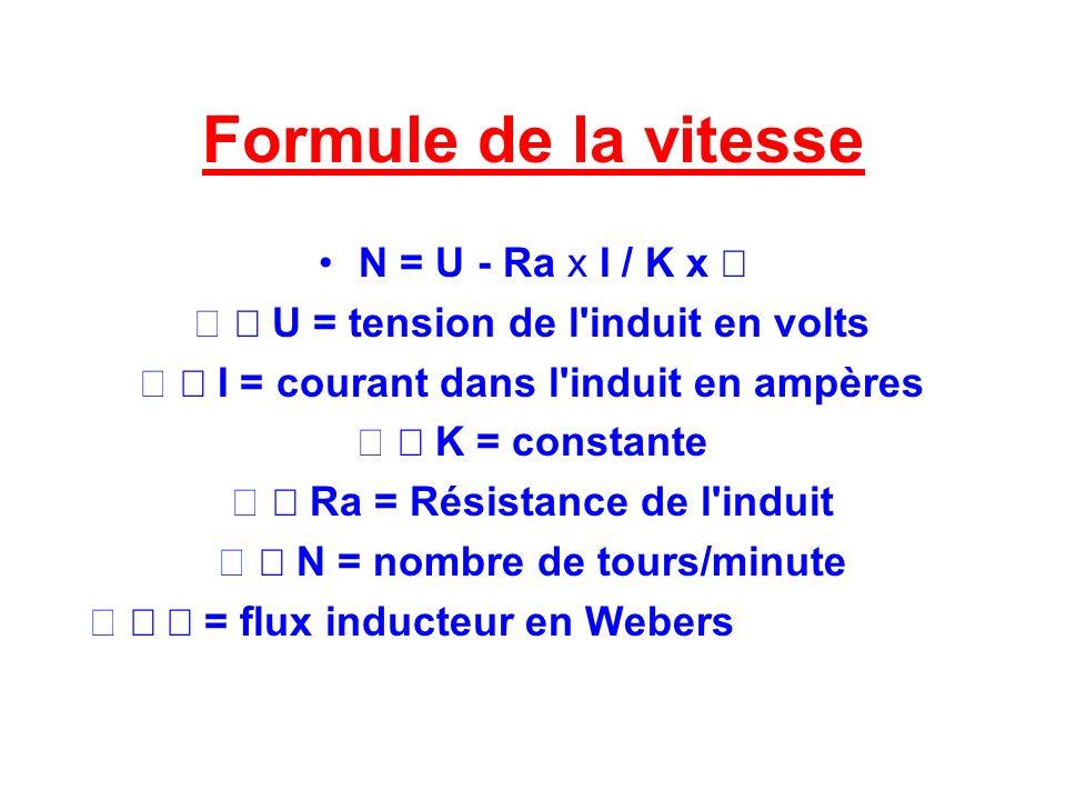 Formule de la vitesse N = U - Ra x I / K x U = tension de l'induit en volts I = courant dans l'induit en ampères K = constante Ra = Résistance de l'in