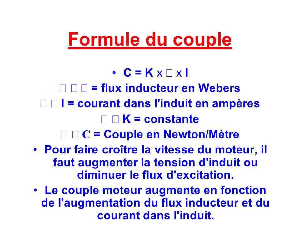 Formule du couple C = K x x I = flux inducteur en Webers I = courant dans l'induit en ampères K = constante C = Couple en Newton/Mètre Pour faire croî