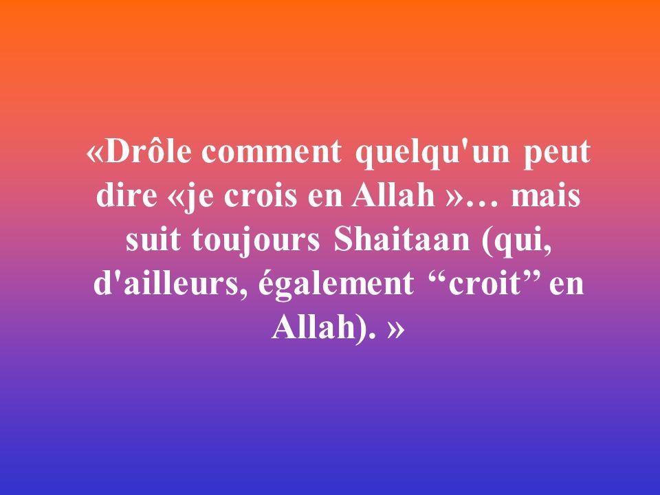 «Drôle comment quelqu'un peut dire «je crois en Allah »… mais suit toujours Shaitaan (qui, d'ailleurs, également croit en Allah). »