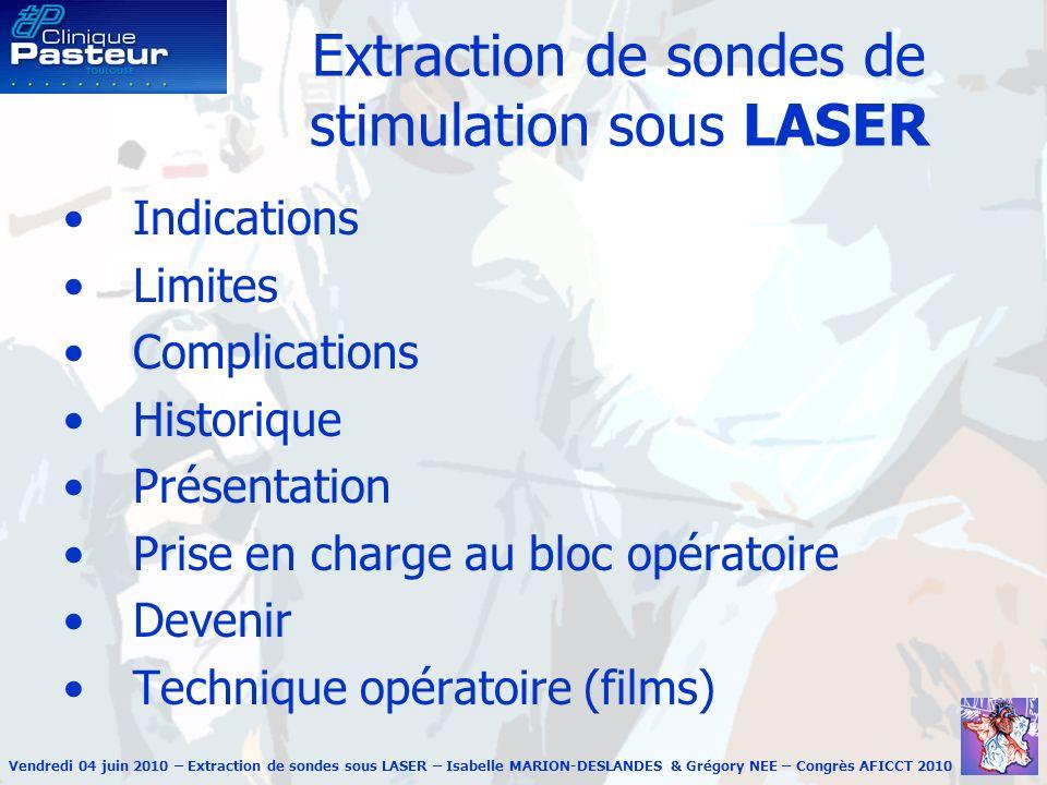 Vendredi 04 juin 2010 – Extraction de sondes sous LASER – Isabelle MARION-DESLANDES & Grégory NEE – Congrès AFICCT 2010 Extraction de sondes de stimul