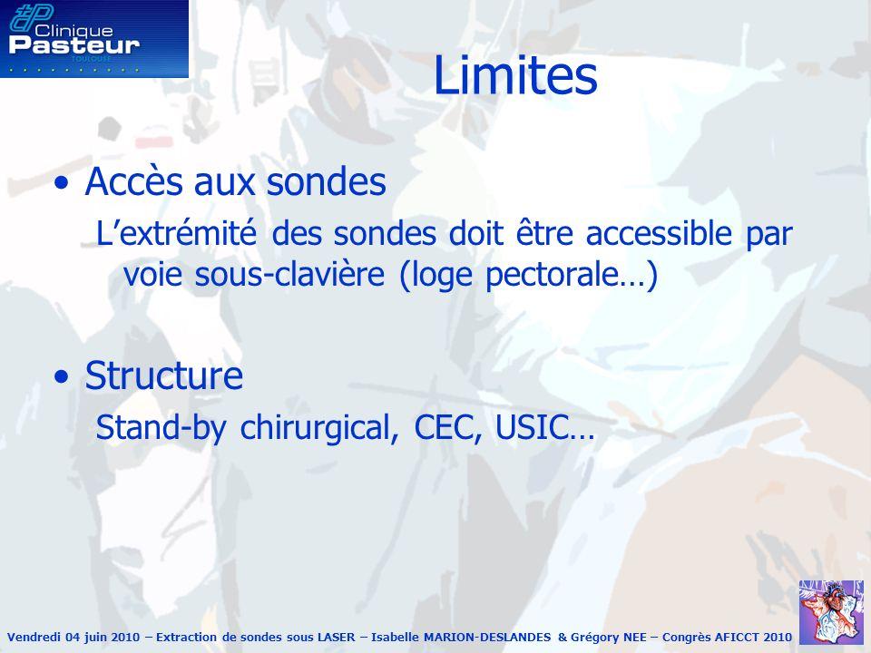 Vendredi 04 juin 2010 – Extraction de sondes sous LASER – Isabelle MARION-DESLANDES & Grégory NEE – Congrès AFICCT 2010 Animation