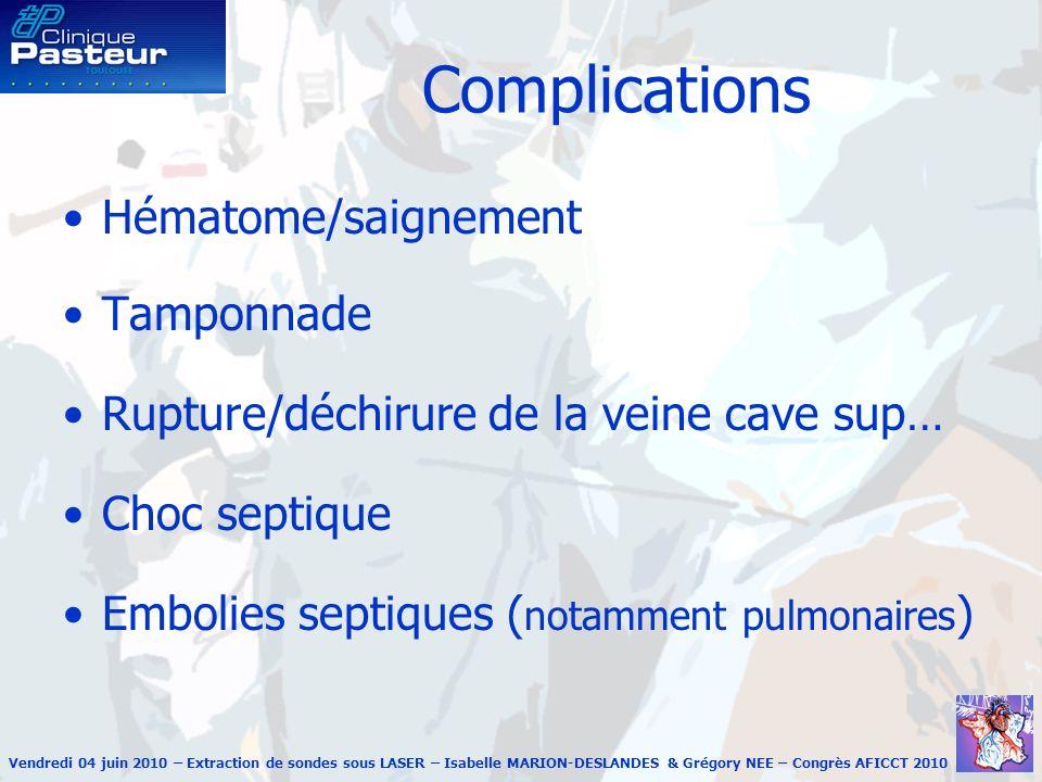 Vendredi 04 juin 2010 – Extraction de sondes sous LASER – Isabelle MARION-DESLANDES & Grégory NEE – Congrès AFICCT 2010 Complications Hématome/saignem