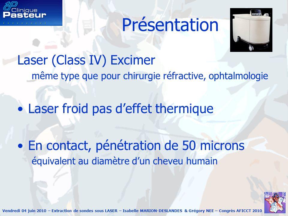 Vendredi 04 juin 2010 – Extraction de sondes sous LASER – Isabelle MARION-DESLANDES & Grégory NEE – Congrès AFICCT 2010 Présentation Laser (Class IV)