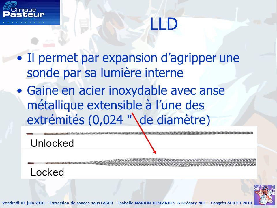 Vendredi 04 juin 2010 – Extraction de sondes sous LASER – Isabelle MARION-DESLANDES & Grégory NEE – Congrès AFICCT 2010 Spectranetics Laser Sheath (SLS)
