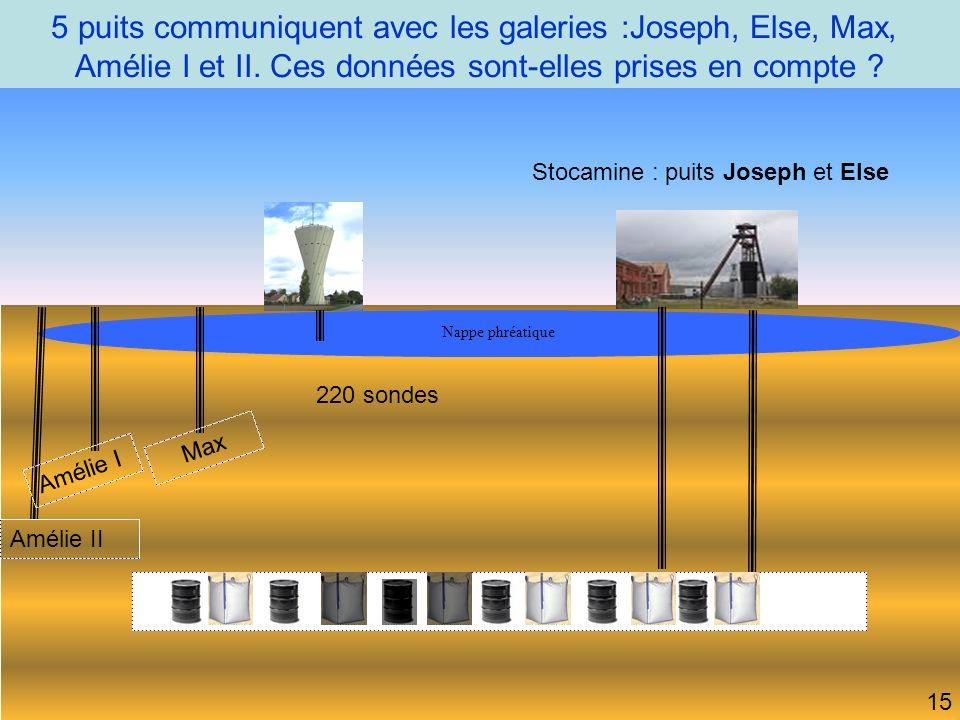 5 puits communiquent avec les galeries :Joseph, Else, Max, Amélie I et II.