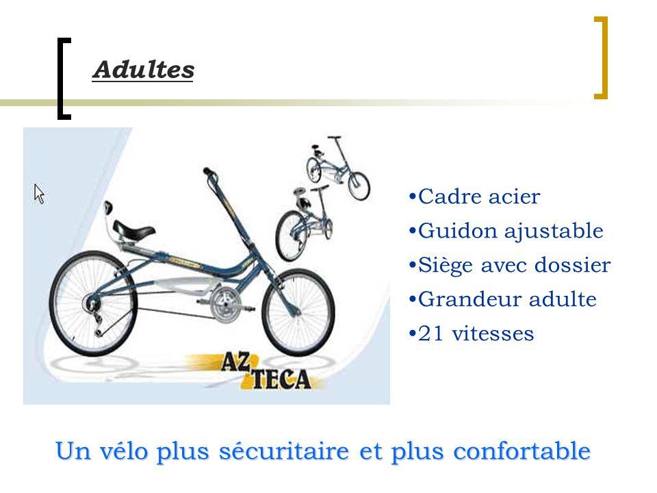 Cadre acier Guidon ajustable Siège avec dossier Grandeur adulte 21 vitesses Adultes Un vélo plus sécuritaire et plus confortable