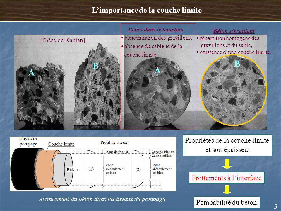 3 B A B A Béton dans le bouchon concentration des gravillons, absence du sable et de la couche limite. Béton sécoulant répartition homogène des gravil