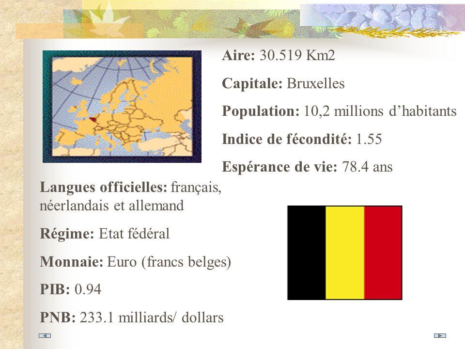 Aire: 30.519 Km2 Capitale: Bruxelles Population: 10,2 millions dhabitants Indice de fécondité: 1.55 Espérance de vie: 78.4 ans Langues officielles: français, néerlandais et allemand Régime: Etat fédéral Monnaie: Euro (francs belges) PIB: 0.94 PNB: 233.1 milliards/ dollars