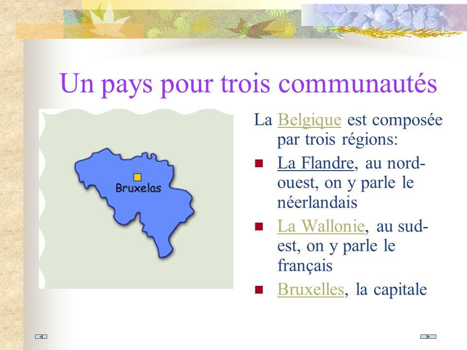 Un pays pour trois communautés La Belgique est composée par trois régions:Belgique La Flandre, au nord- ouest, on y parle le néerlandais La Wallonie, au sud- est, on y parle le français La Wallonie Bruxelles, la capitale Bruxelles
