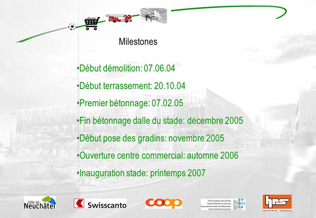 Début démolition: 07.06.04 Début terrassement: 20.10.04 Premier bétonnage: 07.02.05 Fin bétonnage dalle du stade: décembre 2005 Début pose des gradins