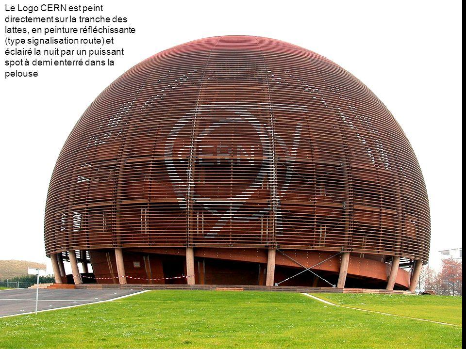 Le Logo CERN est peint sur une bâche en plastique ou sur un voile transparent tendu par des câbles derrière les lattes, et est éclairé la nuit par spot à demi enterré dans la pelouse
