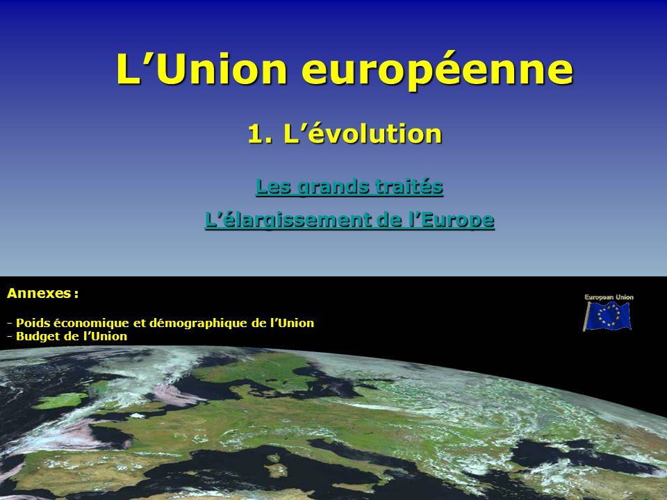 LUnion européenne Les grands traités Les grands traités Lélargissement de lEurope Lélargissement de lEurope 1. Lévolution Annexes : - Poids économique