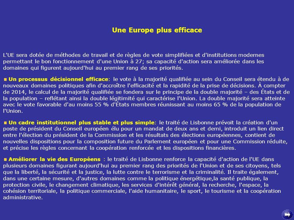L'UE sera dotée de méthodes de travail et de règles de vote simplifiées et d'institutions modernes permettant le bon fonctionnement d'une Union à 27;