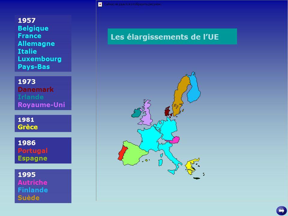 1957 Belgique France Allemagne Italie Luxembourg Pays-Bas 1973 Danemark Irlande Royaume-Uni 1981 Grèce 1986 Portugal Espagne 1995 Autriche Finlande Su