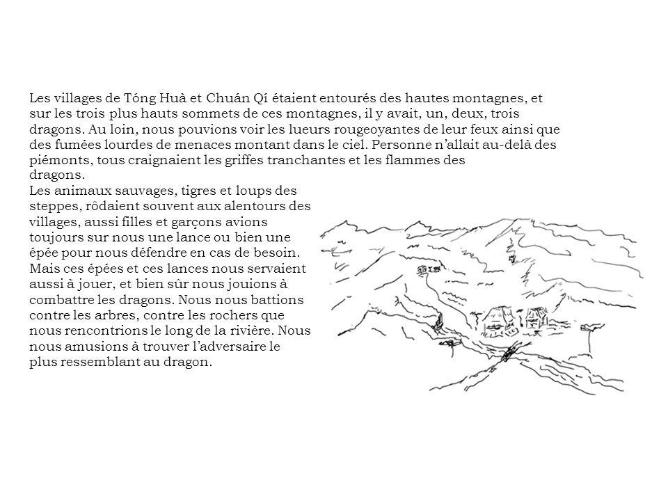 dragons. Les animaux sauvages, tigres et loups des steppes, rôdaient souvent aux alentours des villages, aussi filles et garçons avions toujours sur n