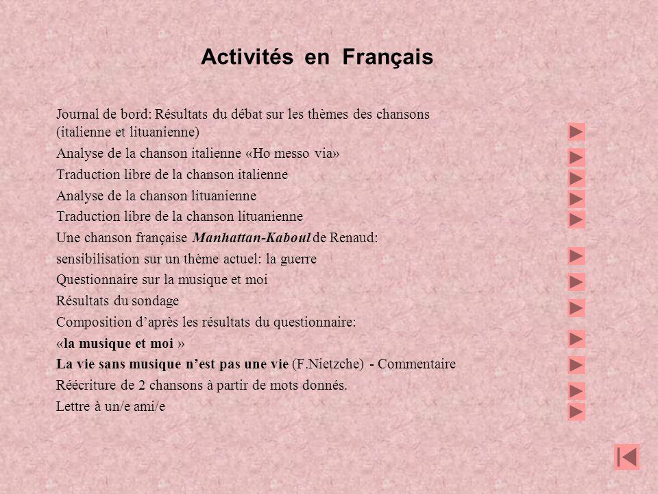 PROJET COMENIUS: CHANTONS ENSEMBLE Travail des élèves en français