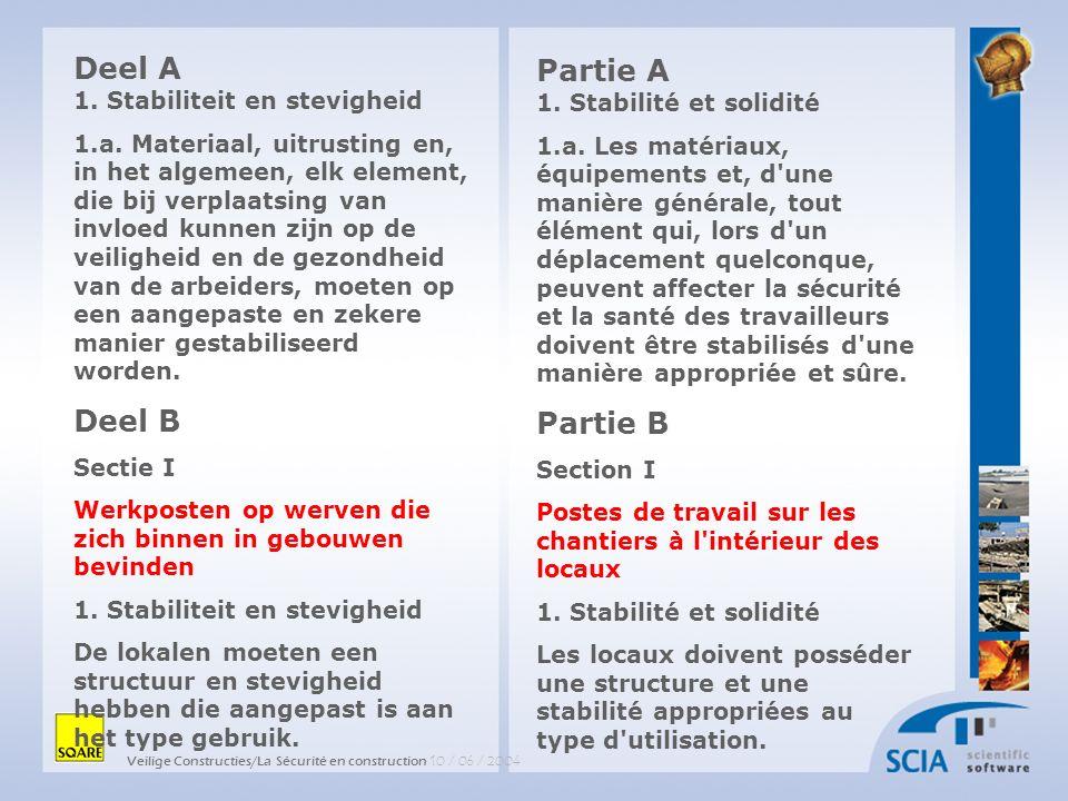 Veilige Constructies/La Sécurité en construction 10 / 06 / 2004 Partie A 1. Stabilité et solidité 1.a. Les matériaux, équipements et, d'une manière gé