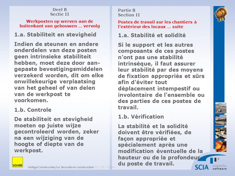 Veilige Constructies/La Sécurité en construction 10 / 06 / 2004 Partie B Section II Postes de travail sur les chantiers à l extérieur des locaux … suite 6.