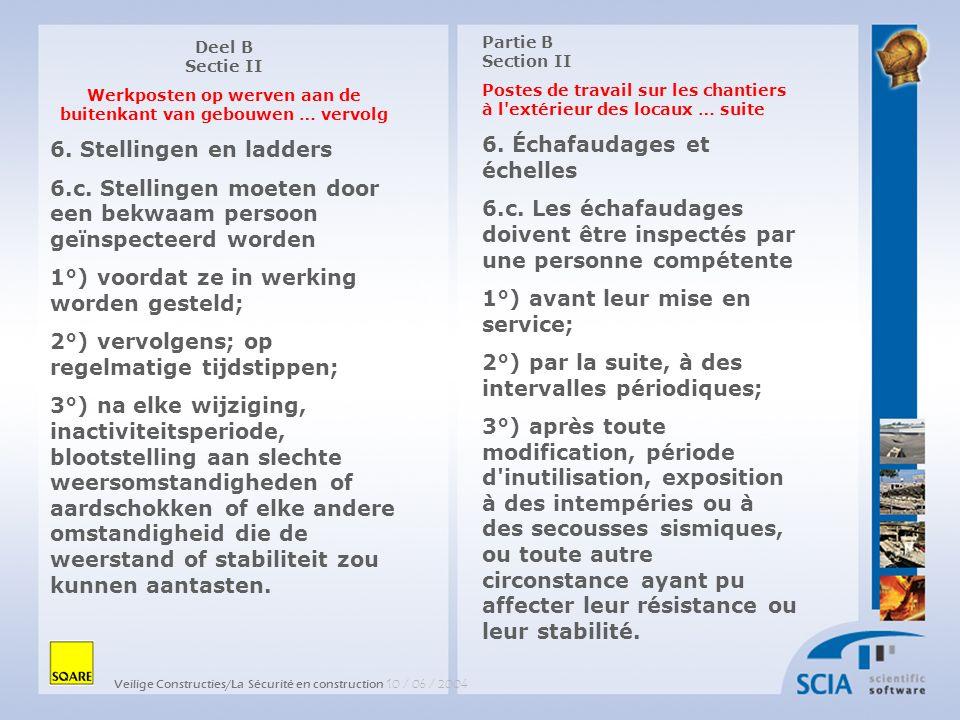 Veilige Constructies/La Sécurité en construction 10 / 06 / 2004 Partie B Section II Postes de travail sur les chantiers à l extérieur des locaux … suite 12.