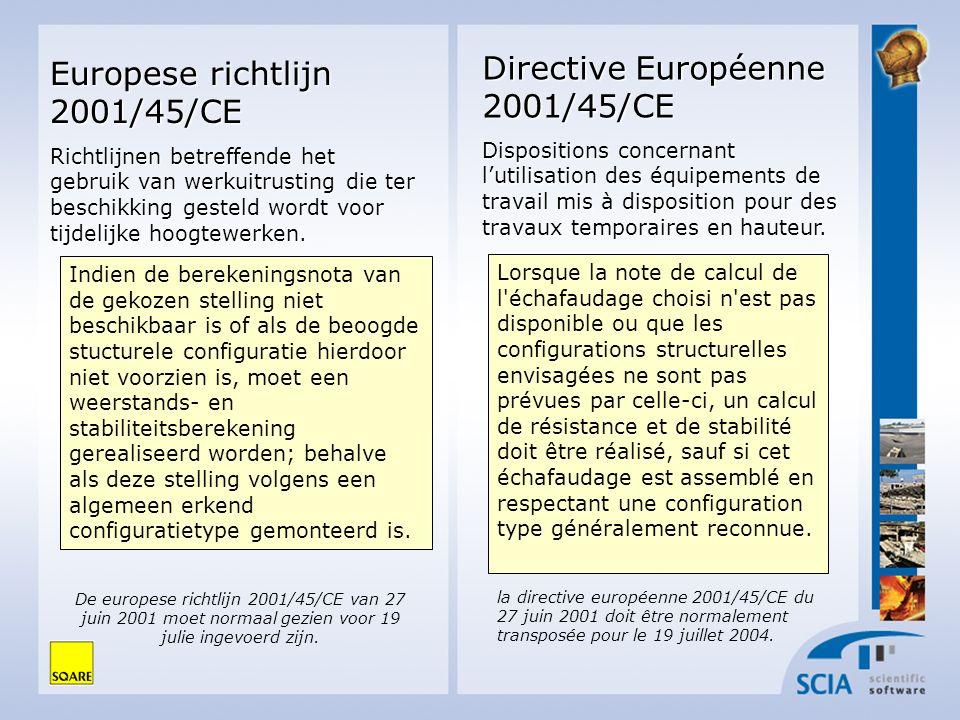Directive Européenne 2001/45/CE Dispositions concernant lutilisation des équipements de travail mis à disposition pour des travaux temporaires en haut