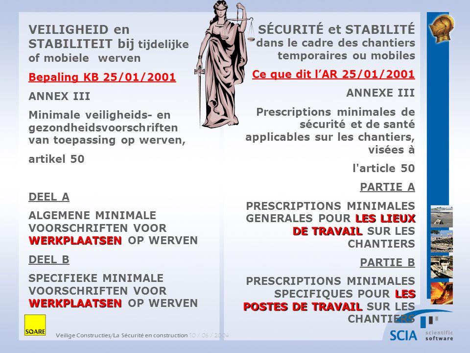 Veilige Constructies/La Sécurité en construction 10 / 06 / 2004 SÉCURITÉ et STABILITÉ dans le cadre des chantiers temporaires ou mobiles Ce que dit lA