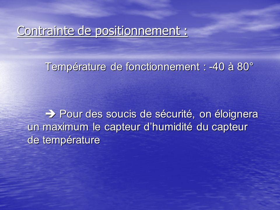 Contrainte de positionnement : Température de fonctionnement : -40 à 80° Pour des soucis de sécurité, on éloignera un maximum le capteur dhumidité du
