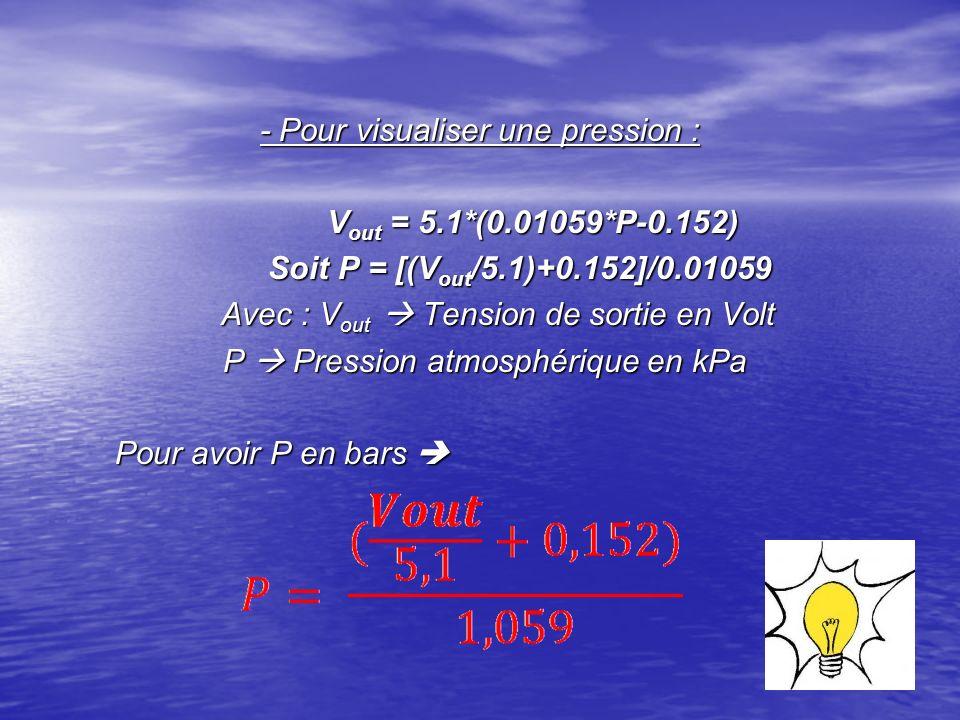 - Pour visualiser une pression : V out = 5.1*(0.01059*P-0.152) V out = 5.1*(0.01059*P-0.152) Soit P = [(V out /5.1)+0.152]/0.01059 Soit P = [(V out /5